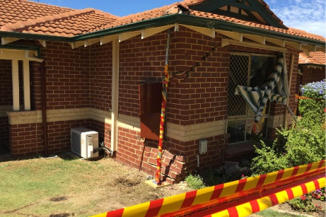 The crash caused extensive damage to a woman's home on Barry Street, Rivervale.