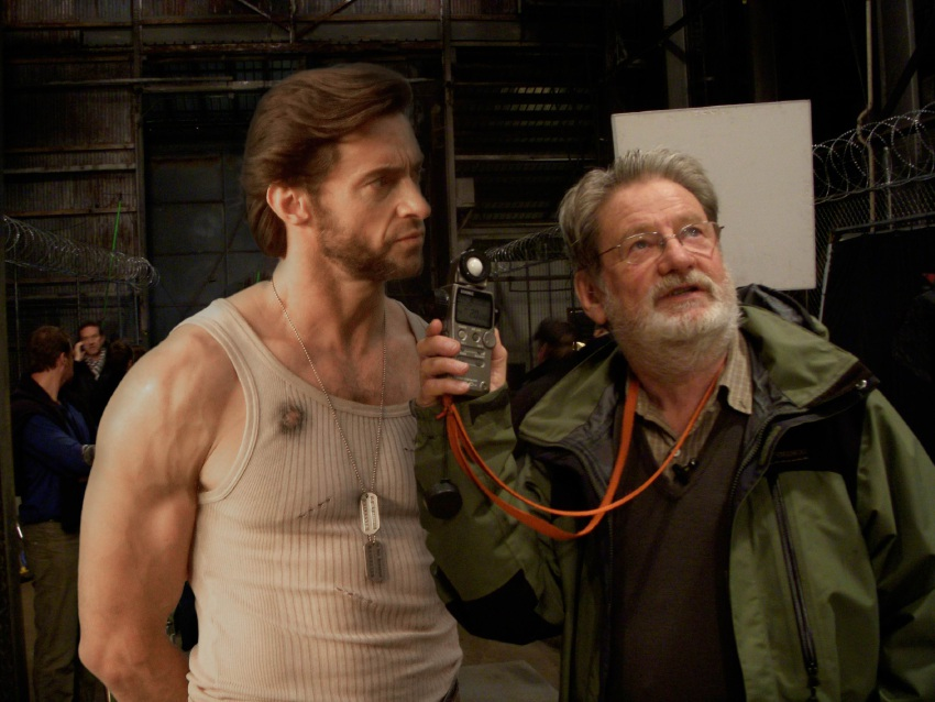 Actor Hugh Jackman and cinematographer Don McAlpine on set.