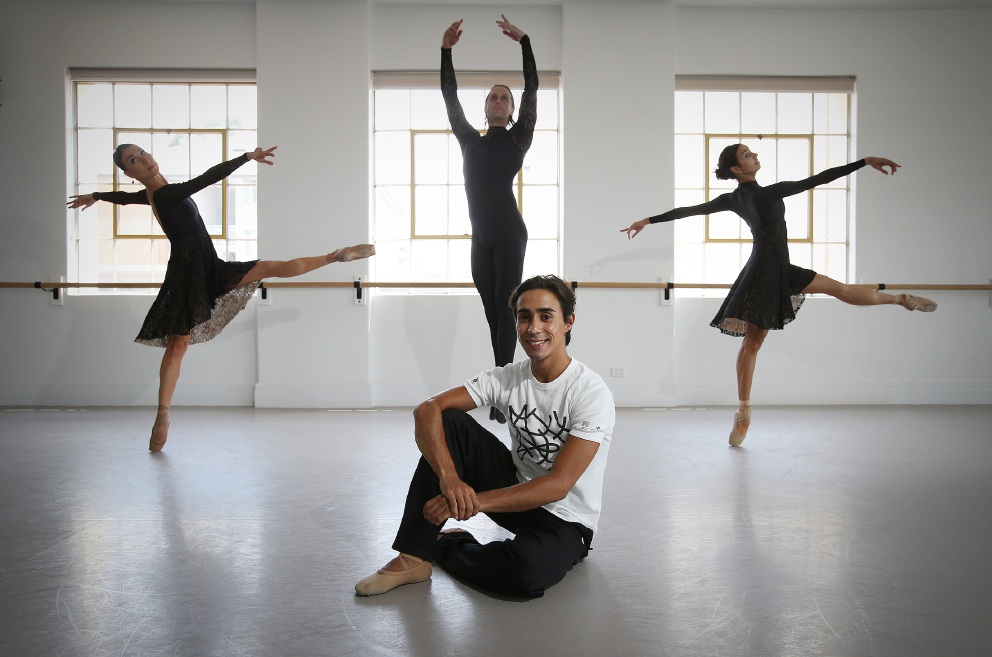 Choreographer Andre Santos (Menora) with WA Ballet dancers (L-R) Florence Leroux-Coleno (Mt Lawley), Christian Luck (Bayswater) and Polly Hilton (Subiaco). Picture: Andrew Ritchie d448855