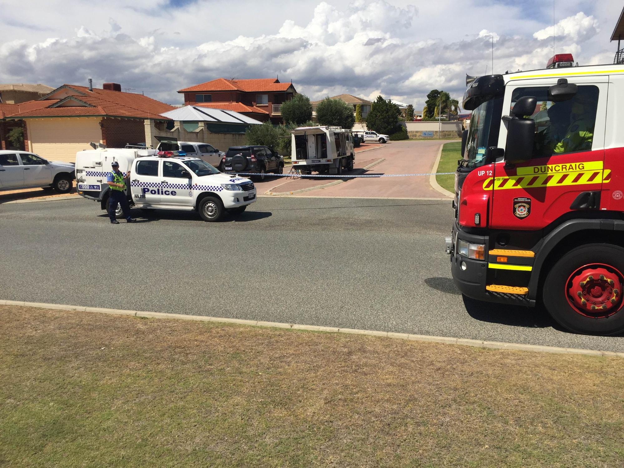 Police have cordoned off Lesueur Rise. Picture: Martin Kennealey