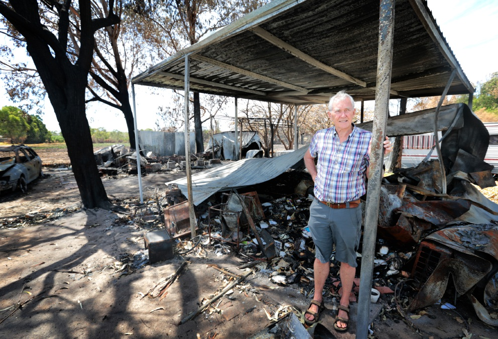Midland Tourist Park director Mike Repacholi amongst some of the damaged accommodation.