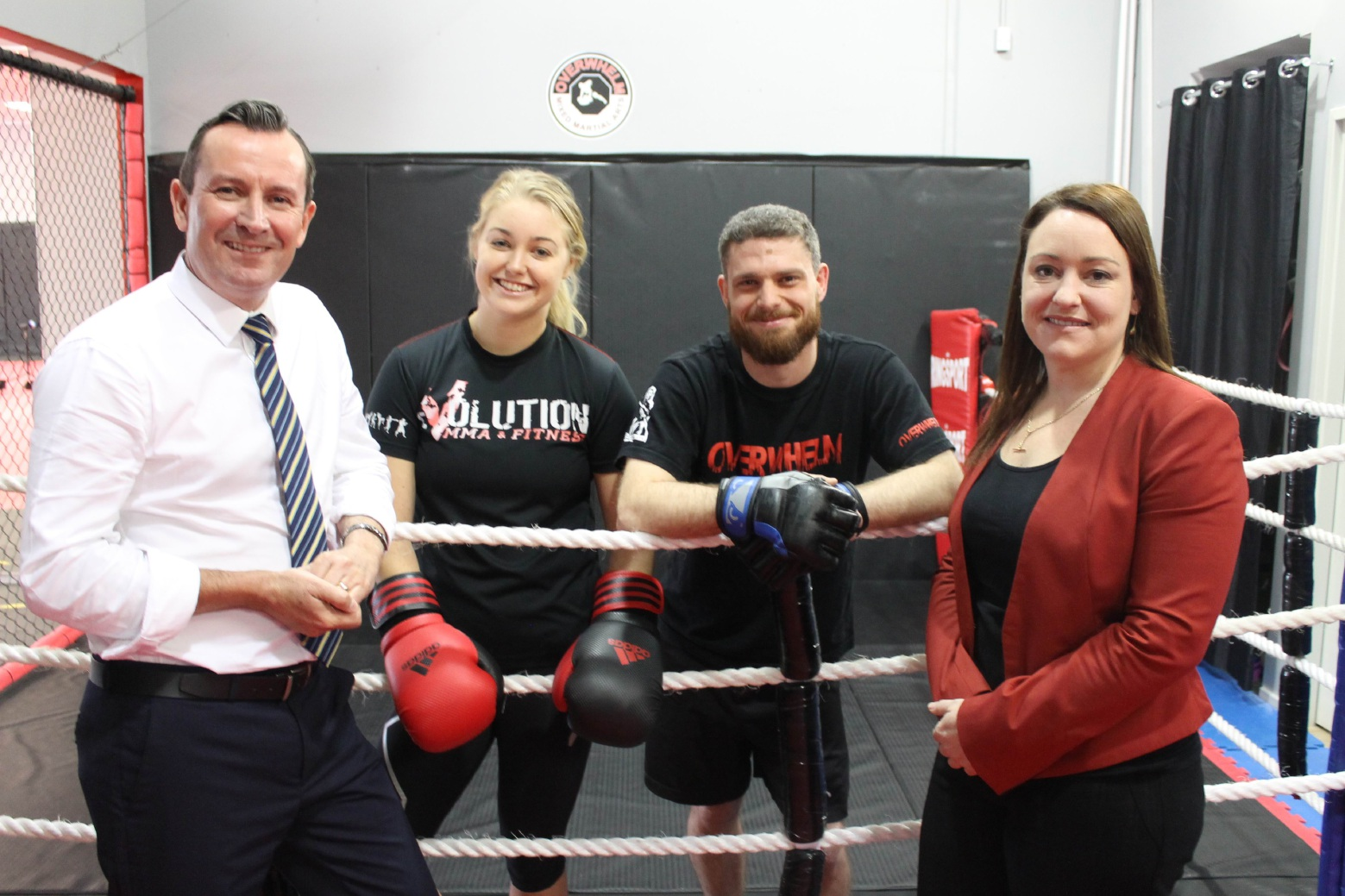 In fighters' corner... Labor Leader Mark McGowan, mixed martial arts exponents Jessica Napier and Ben Wynne, and Joondalup Labor candidate Emily Hamilton.