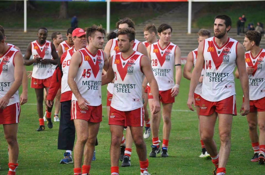 South Fremantle forward Cory Dell'Olio (3) with his South Fremantle teammates last year. Photo: Bryce Luff.