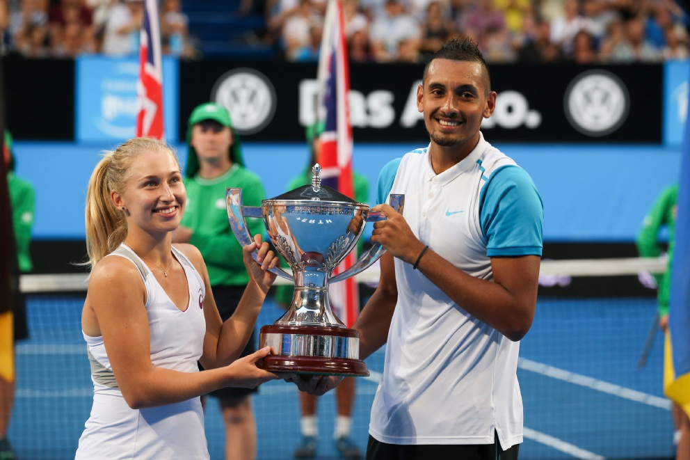 Daria Gavrilova and Nick Kyrgios lift the Hopman Cup after beating Ukraine in the final 2-0.