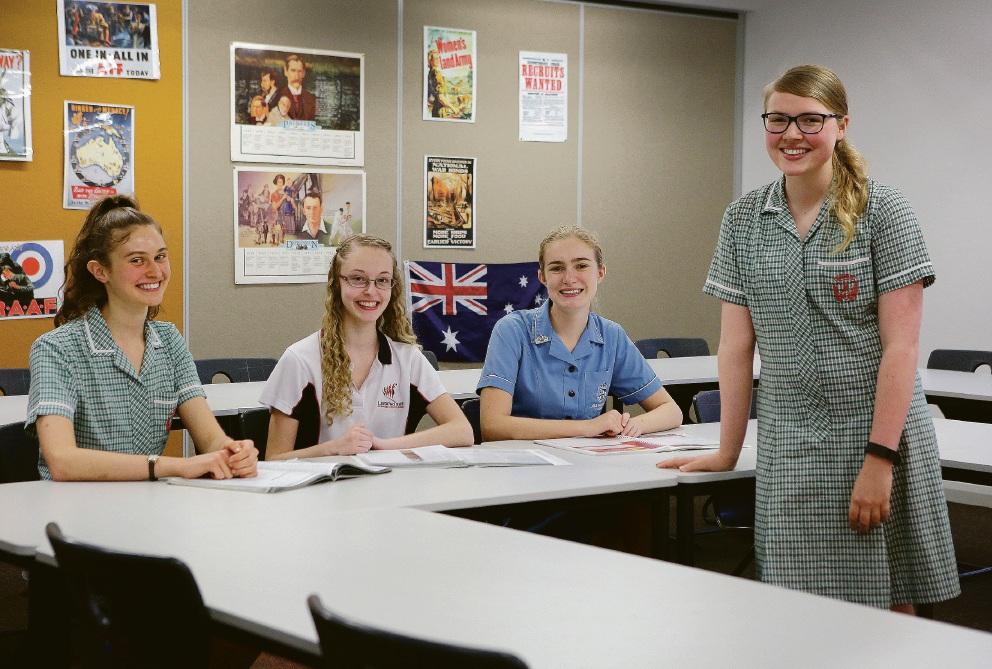 High achievers Dominique Douglas-Smith, Amy James, Shannae Carnell and Katherine Enright. Picture: Matt Jelonek www.communitypix.com.au   d448274