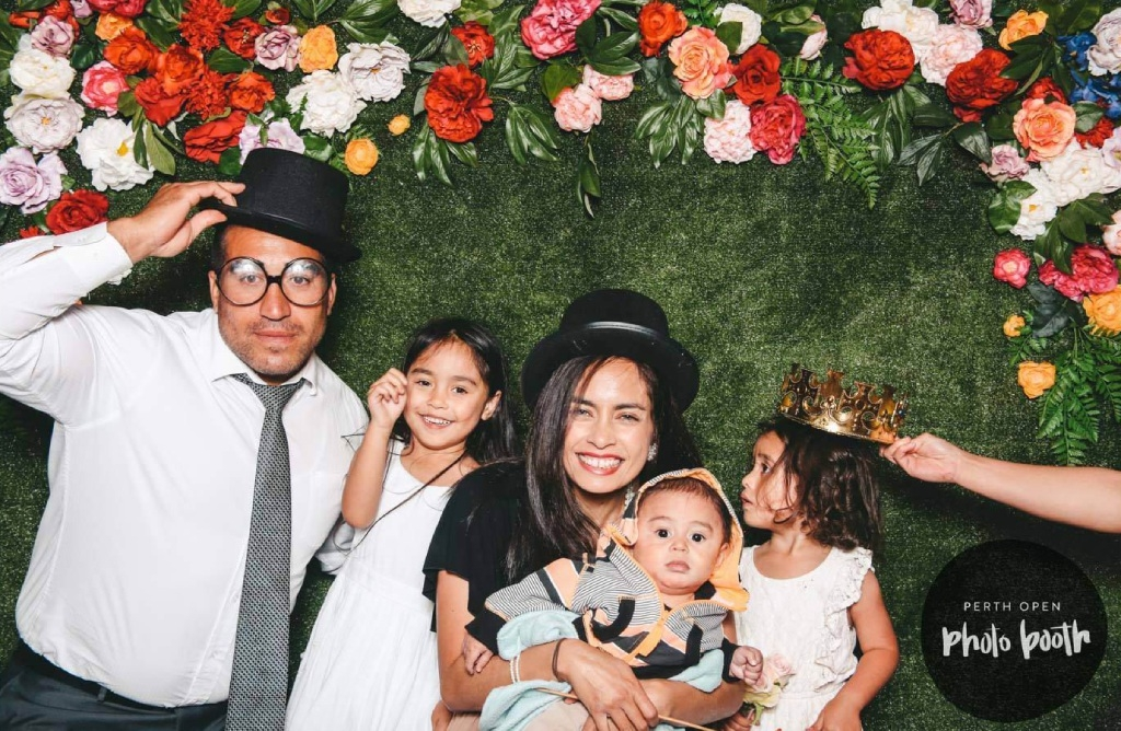 Ben White with Neiva, Benjamin and Dolce, and wife Elizabeth. Picture: Perth Open Photo Booth
