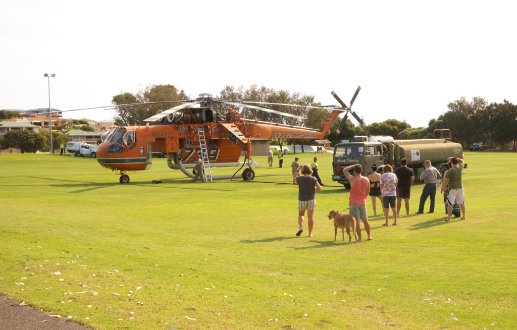 The Erickson air-crane refuelling at Charnwood Park, Two Rocks.