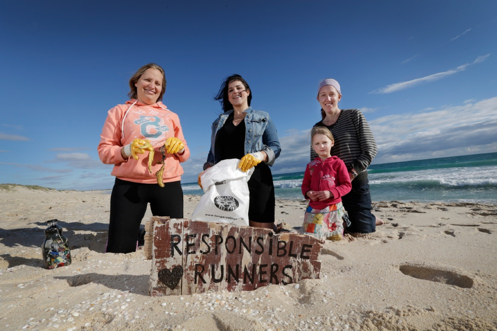 Avi Melniker, Jenna Walkowiak, Pippa and Niamh Dempsey (4) have formed Responsible Runners to clean up local beaches. Inset: Rubbish collected at Mettam's Pool.  Main picture: Andrew Ritchie  d456942