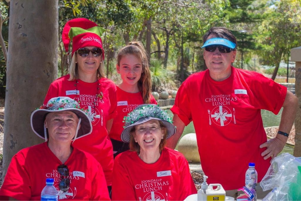 Volunteers Chris Blackney, Sharon and Imogen Lamb, Sue Blackney and Dave Lamb. Picture: Tania Morrow