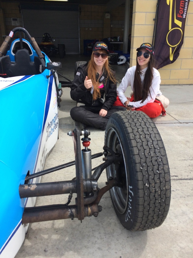 Formula Vee drivers April Welsh (left) and Stephanie Wolfgram in Tasmania.