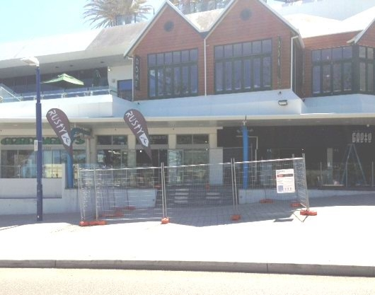 The cordoned off entry to Cordingley's Surf in Scarborough.