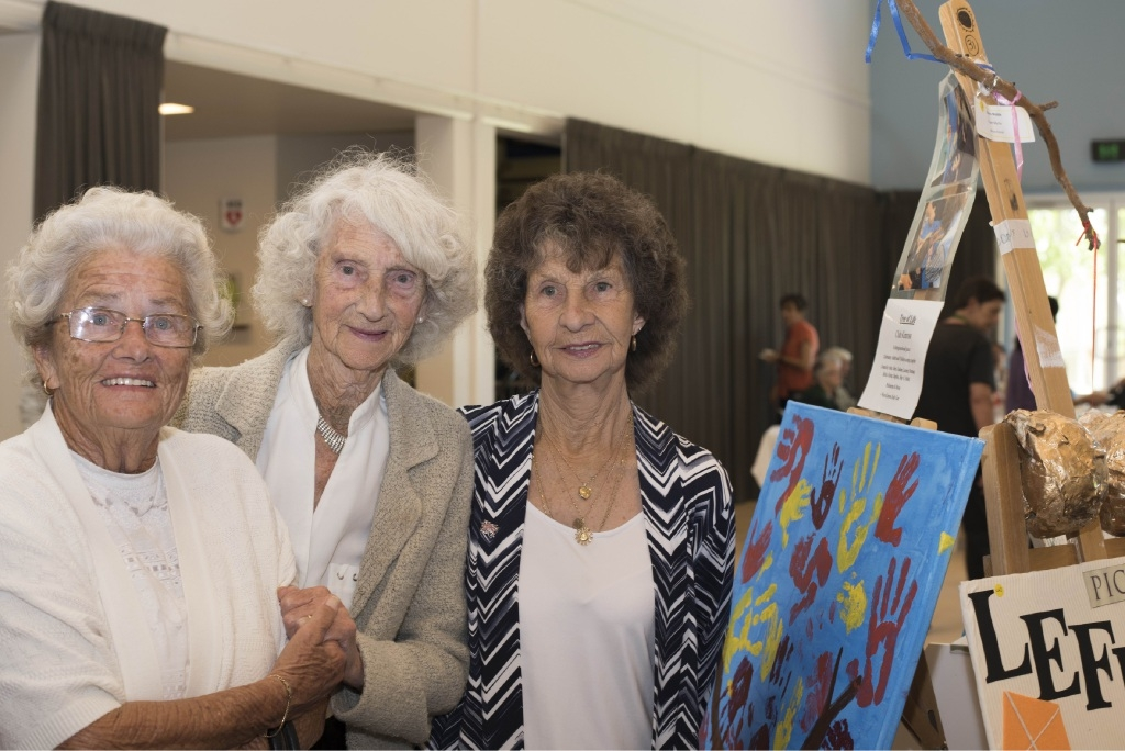 Daphne Andrews, Dorothy Roberts and Maureen Grimshaw with their piece Tree of Life, completed with children from West Kinross Kids Care.