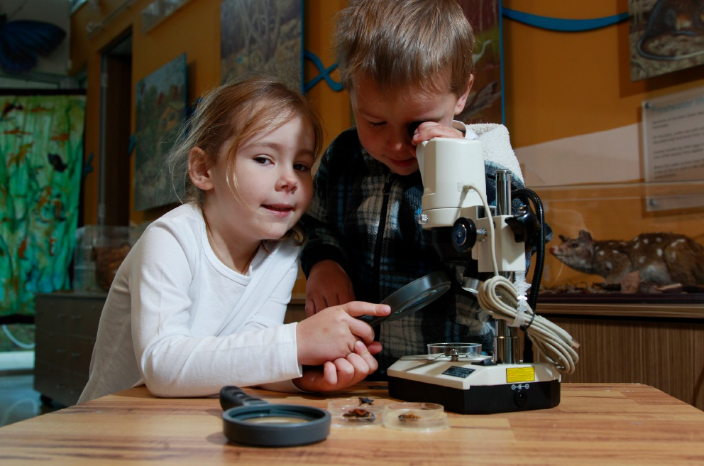 Charli and Billy Bennett having a closer look at some bugs at the Canning River Eco Education Centre.