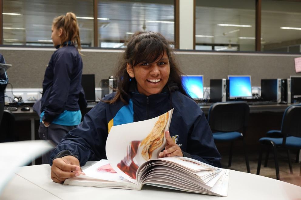 Ellouise Johnstone enjoying one of 'The Deadly Sister Girlz' programs.