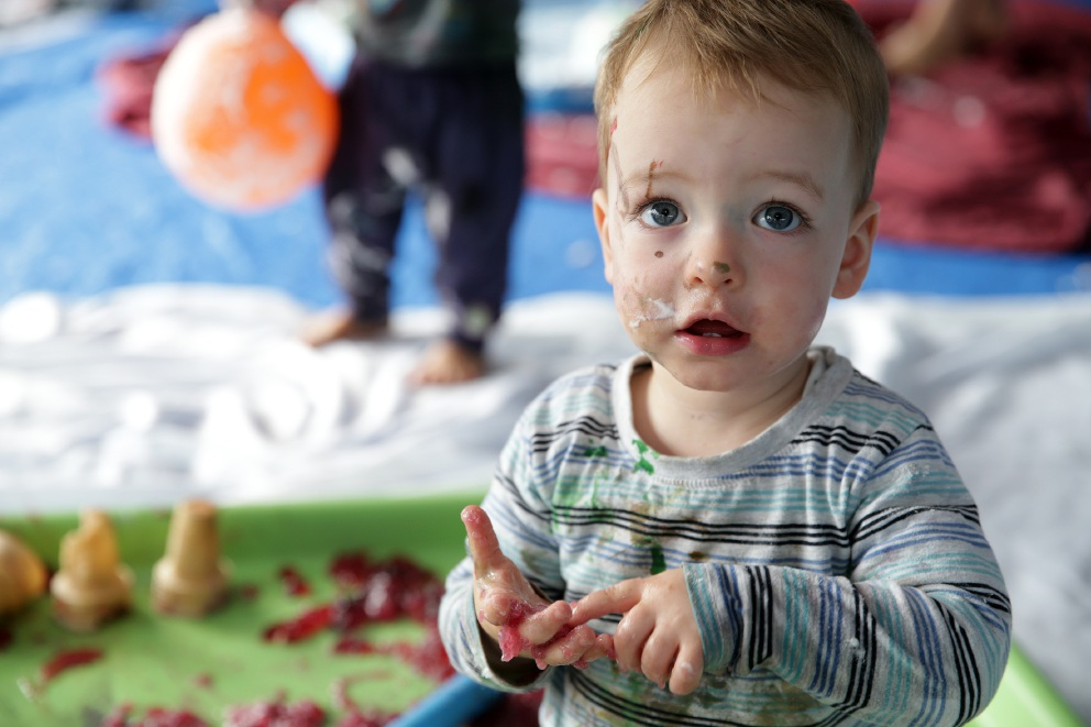 Kids down and dirty in Joondalup messy play session