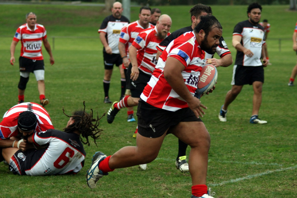 Kaneti Pita on the charge with Ed Morton in support for Arks against Bunbury on Saturday.
