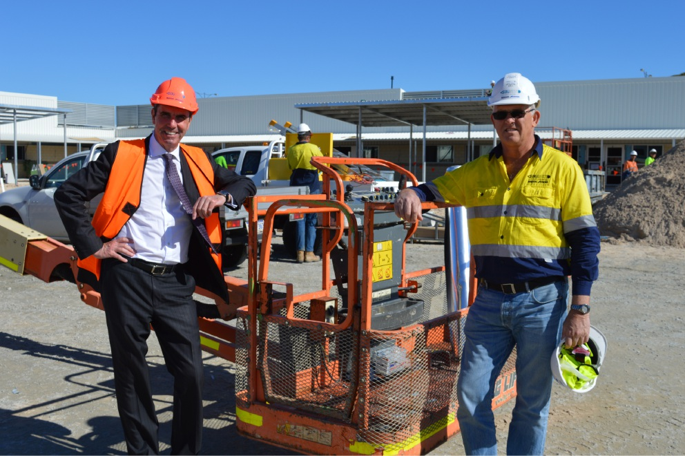 Education Minister Peter Collier and site |manager Dallas Harvey.
