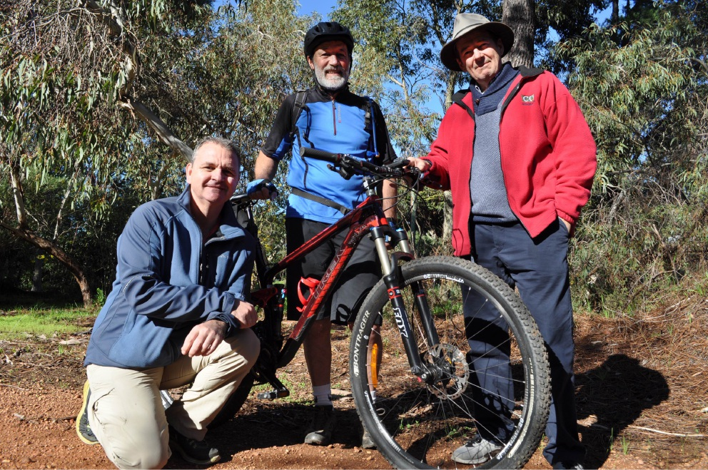 Councillors Tony Brennan, Patrick Bertola and Shire President David Lavell gear up for new format of Trek the Trail.