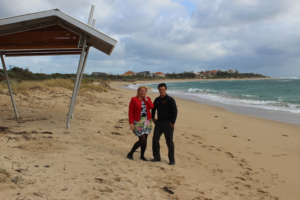 Sun smart... Mandurah Mayor Marina Vergone and Melanoma WA chief executive Clinton Heal checking out the new shelters.
