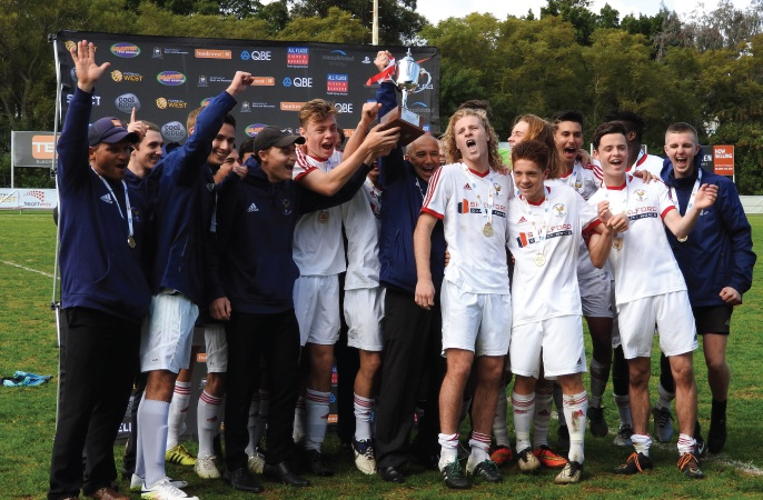 Cockburn City's Under-18s celebrate a win in the Under-18 Cup Final.