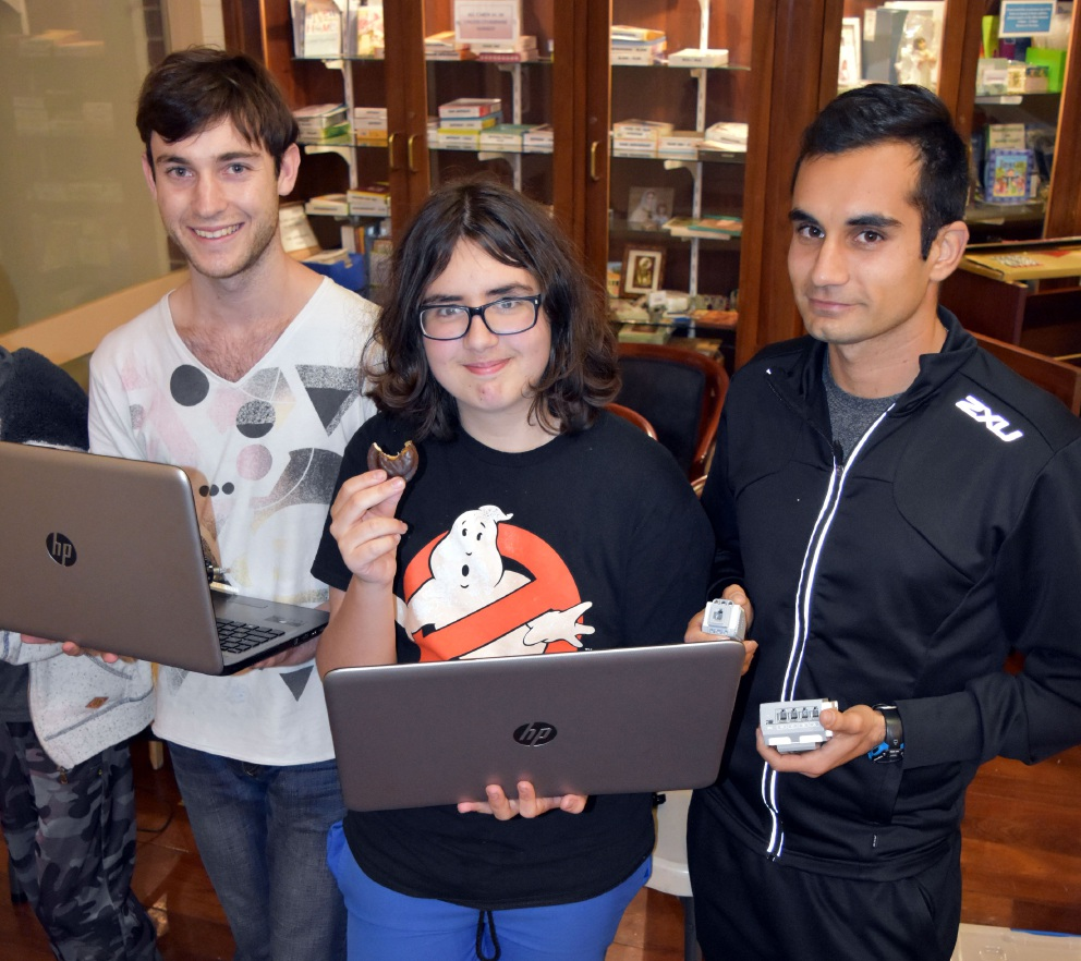 Coders Kooper de Lacy, Justin Harris and Francisco Sanzana in Morley.
