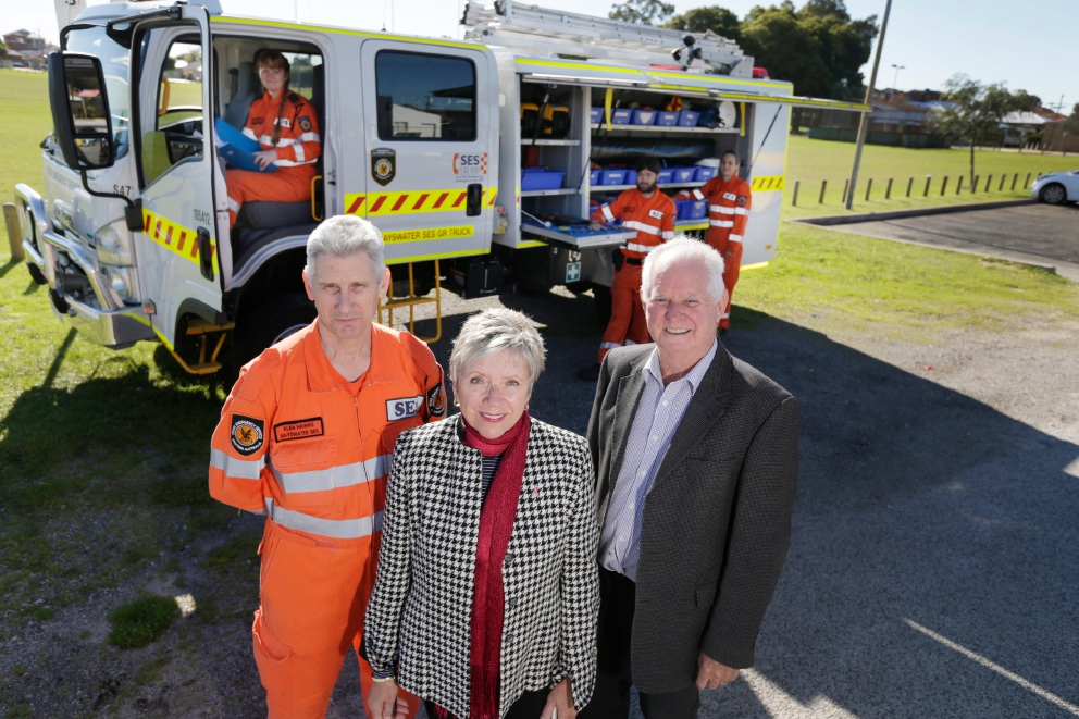 Allan Hawke (Operations Manager SES Bayswater), Cr Sally Palmer and Cr Alan Radford with SES volunteers. Picture: Andrew Ritchie