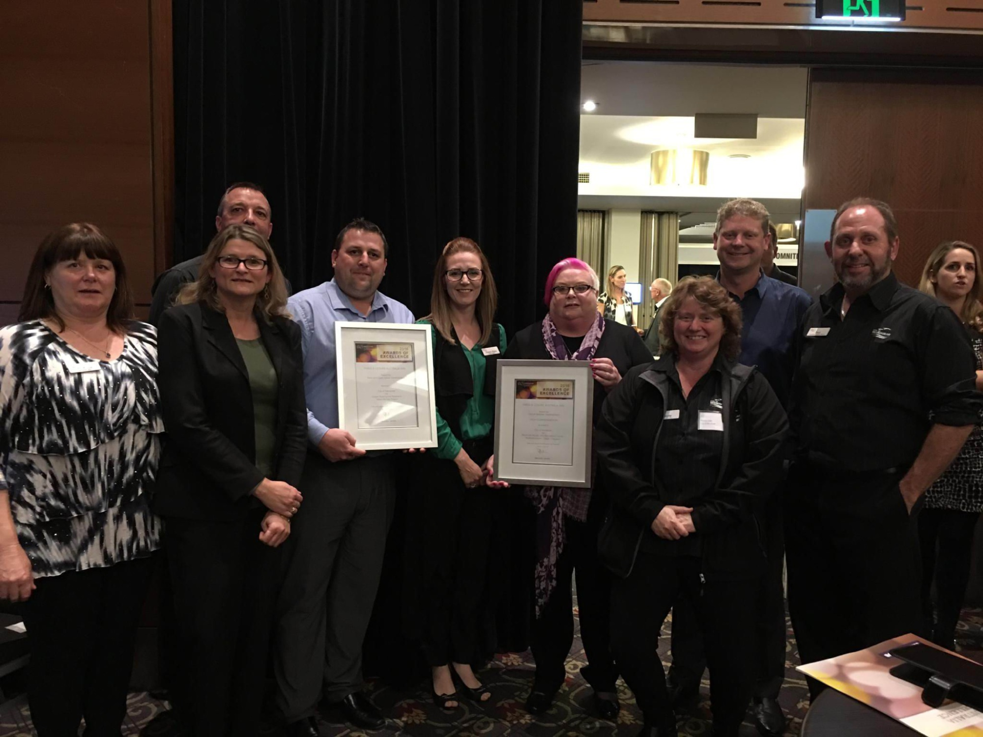 City of Mandurah Recreation Centres and Services staff Jo-Anne Prout, Wendy Murphy, Adrian Timms, Dale Christy,Doanne Dunn, Lesley Wilkinson, Wendy Cole, Craig Johnson and Paul Miller at the Parks and Leisure Awards.