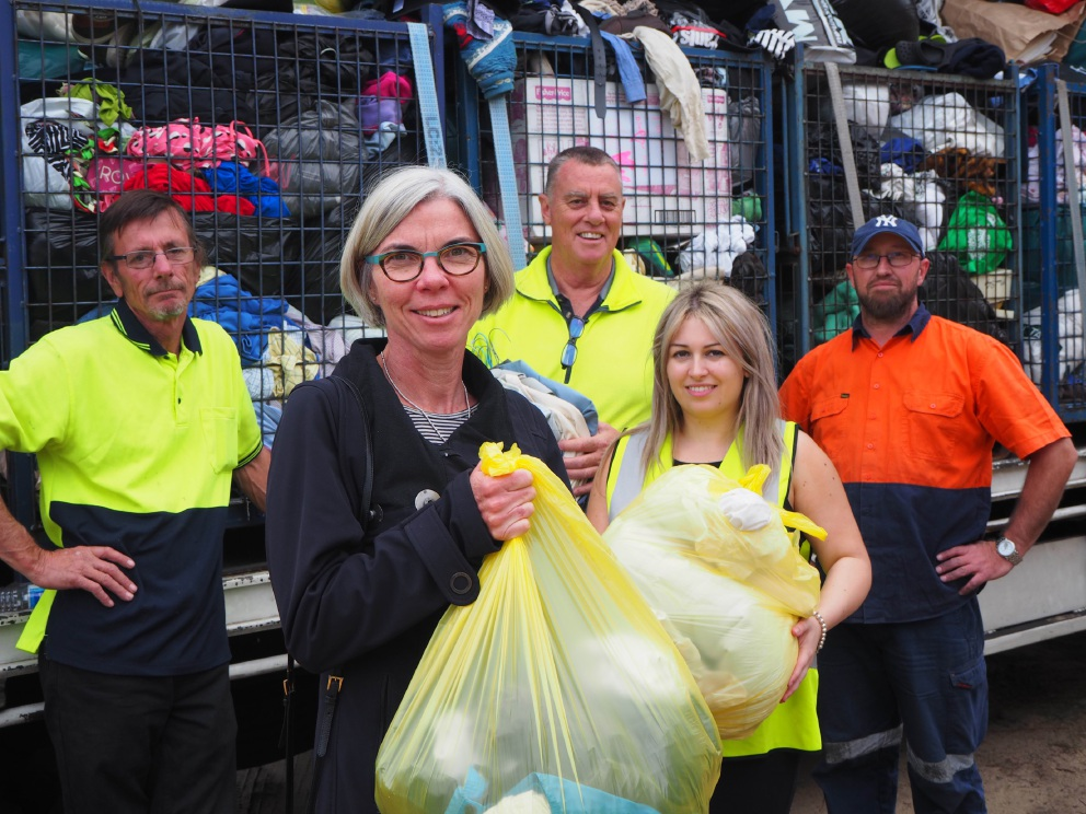 Town of Cambridge councillor Jane Powell and Town officer Sarah Gould with Vinnies and Anglicare staff at the drop off day.