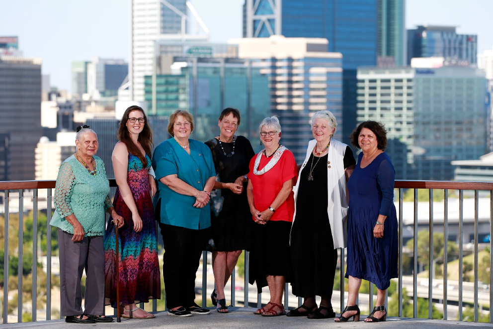 This year's inductees for the WA Women's Hall of Fame: Girrawheen's Oriel Green, left, Balga's Drisana Levitzke-Gray, Jolimont's Erica Smyth, Crawley's Margaret Seares AO, Victoria Park's Hon Cheryl Davenport, Erskine's Rev Pam Halbert and Alexander Heights' Glenda Kickett. Picture: Andrew Ritchie. d450773