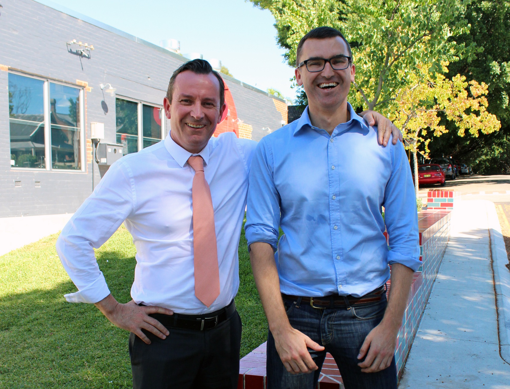 WA Opposition leader Mark McGowan with Labor candidate for Perth John Carey. Photo: Rosanna Candler
