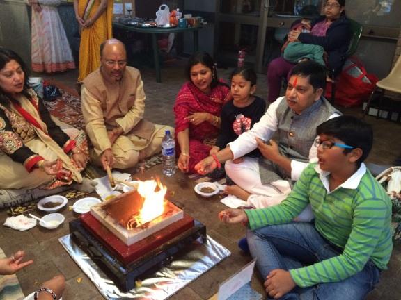 Hindus celebrating Gayatri Jayanti.
