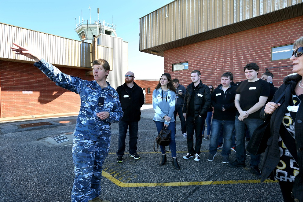 Flying Officer Tamara Videmanis gives an overview of the airfield.