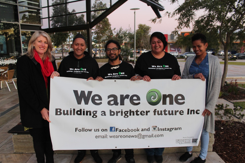 Kwinana Mayor Carol Adams with We Are One founders Freedom and Tihema Tapene, outreach consultant Ma Rollo and Kwinana Council engagement officer Molly Titoko.