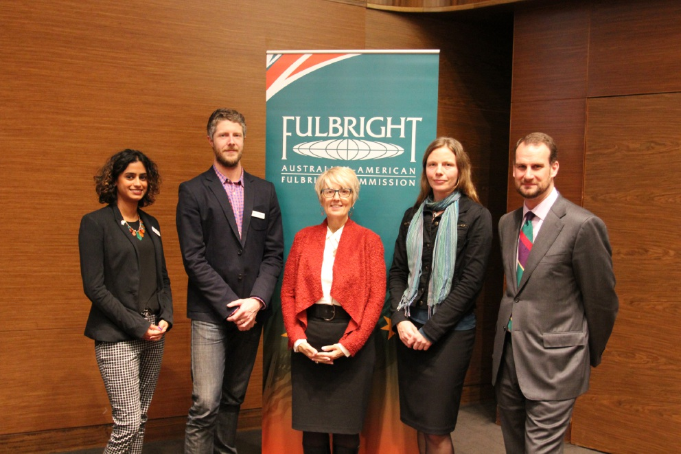 Shraddha Kashyap, Craig McCormack, Ruth Lee Martin (Fulbright state secretary, ACT), Ursula Salmon and Kent Anderson (UWA).