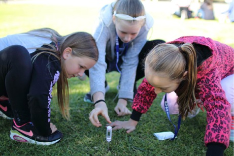 Students test the temperature of soil in the shade.