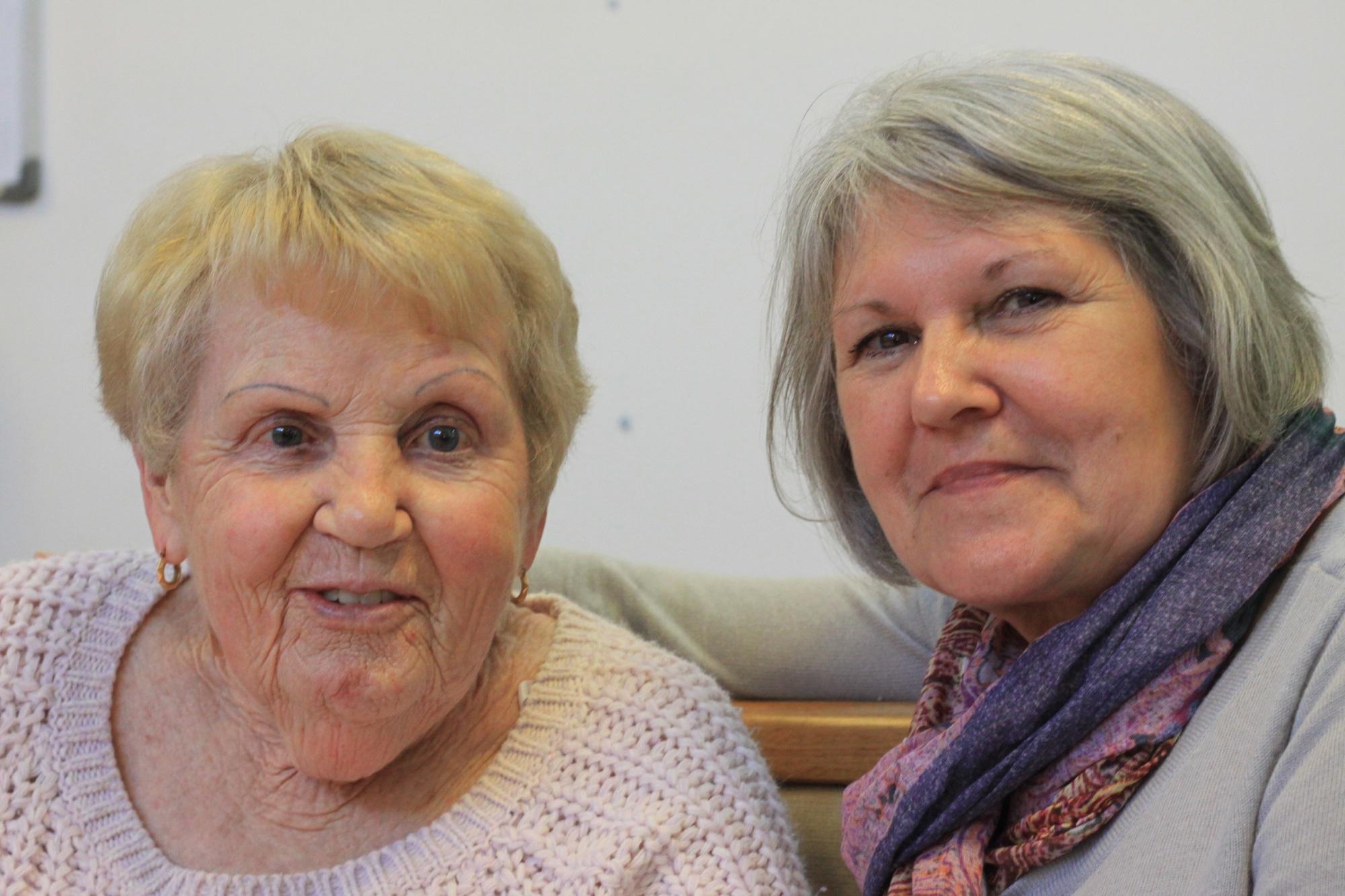 Bert England resident Betty Davis with long-serving staff member Mairi Totten.
