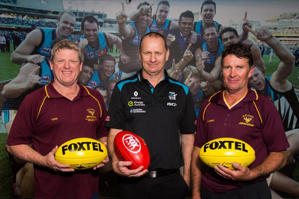 Port Adelaide coach Ken Hinkley with Todd Sherwood (left) and Warren Meulenkamp.