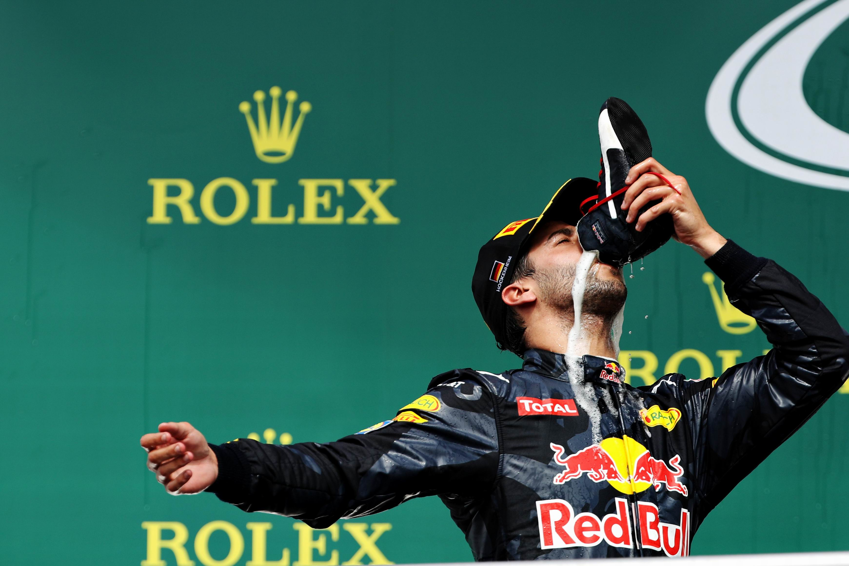 Daniel Ricciardo celebrates his 2nd place on the podium during the Formula One Grand Prix of Germany .  Picture: Mark Thompson/Getty Images