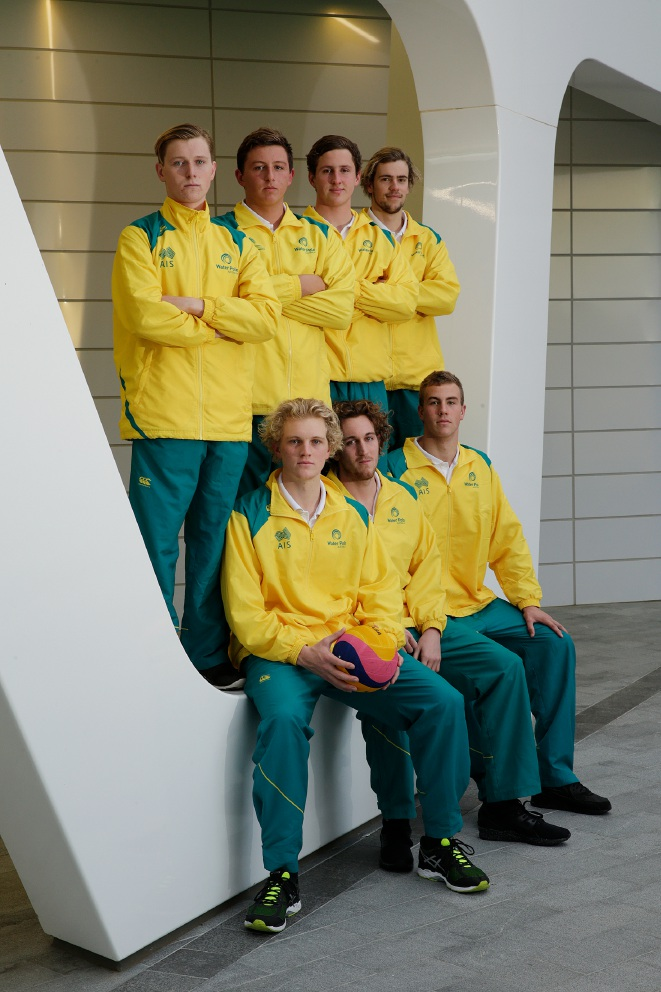 Front: Tim Putt, Damien Williams, Lachlan Vos and (back) Jed Thompson, Christian Kyriakou, Nicholas Elphick and Jack Marshall will be competing in Rio. Picture: Andrew Ritchie www.communitypix.com.au   d457460