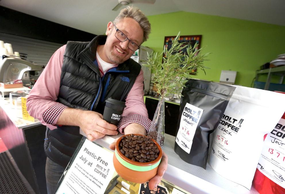 Expressing his green side: Bolt Cafe owner Steve Lomax.   d456938