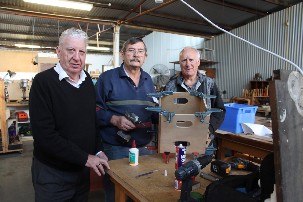 Belmont Men's Shed's Brian Carey, Barry Viner and Vern Davies at the Robinson Avenue shed last week.