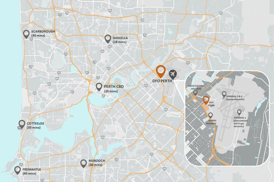The tenancies at the Perth Airport DFO will comprise specialty outlets, predominantly fashion, food and beverage shops and parking for 1600 cars.