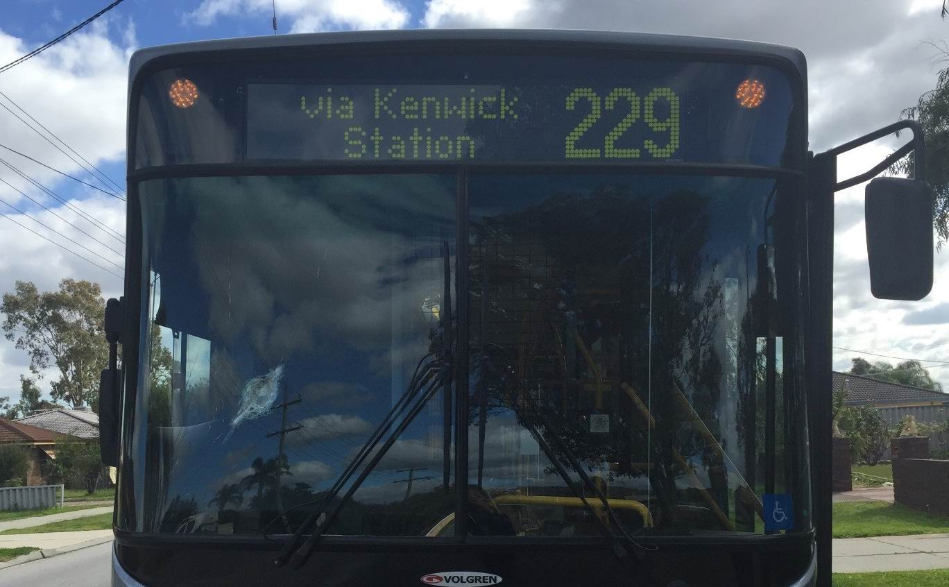 The damage to the bus windscreen. Picture: WA Police
