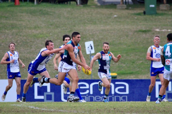 Peel Thunder's Anthony Morabito is tackled. Picture: Phil Elliott/ PixEll Photography