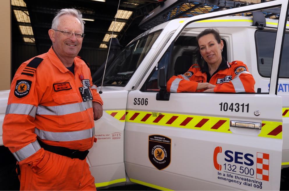 Melville SES unit manager David Fyfe and volunteer Jo Fuhrmann.