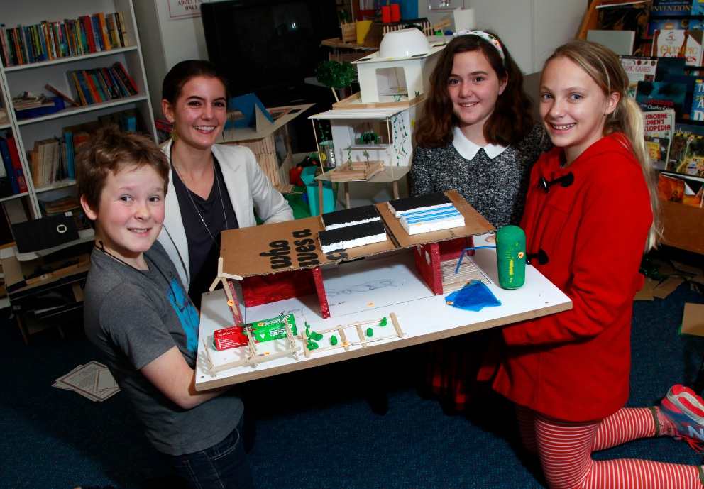 Portia Odell from Simply Carbon with students at Lance Holt Primary School with Sustainable Houses they built and Arlo Corfield, Isabella Skipper and Indi Korczynskyj. Picture: Marie Nirme