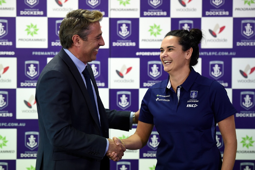 Fremantle chief executive Steve Rosich and senior coach of Fremantle's national women's league team Michelle Cowan. Picture: Jon Hewson