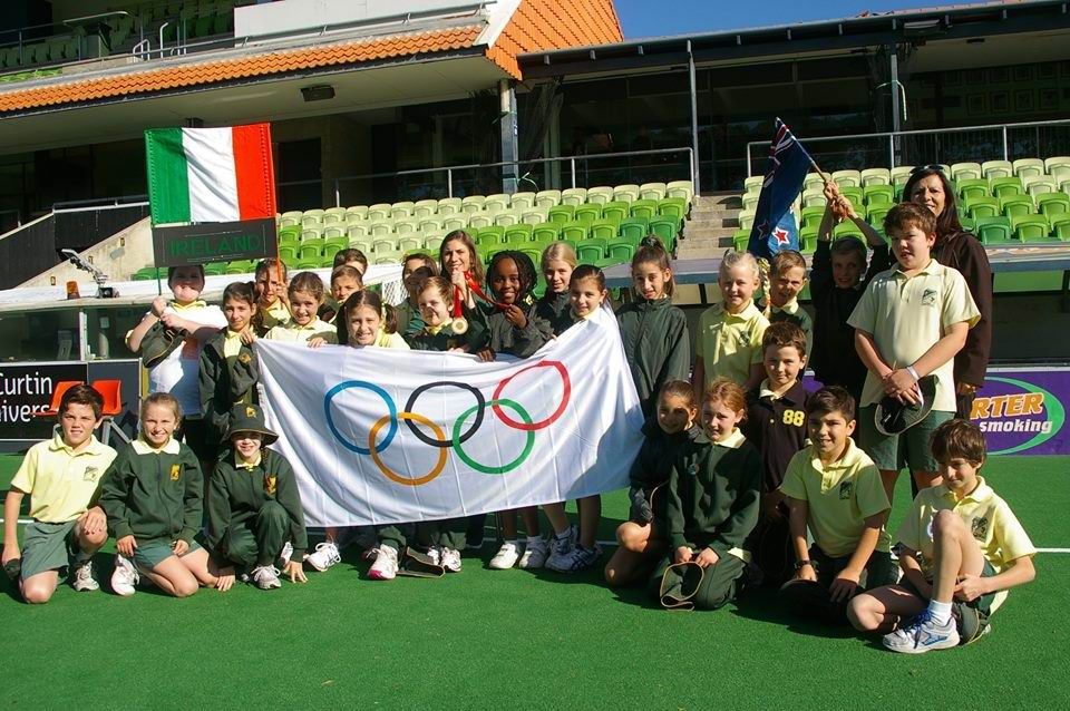 St Patrick's Catholic Primary School students with Australian Paralympic swimming gold medallist Katrina Porter.