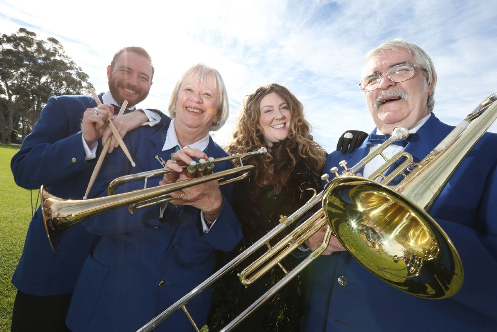 Katherine John and musicians  Karl Beidatsch, Trish Bensley and Derek McLachlan from the Armadale City Concert Band are getting excited about their 1920s-themed concert at the Kelmscott Hall on July 2.