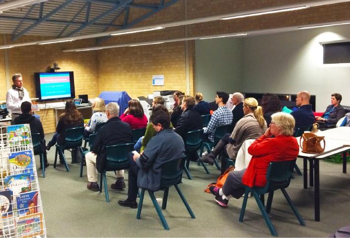 Kalamunda Christian School parents listen to cyber expert Shane McGurk.
